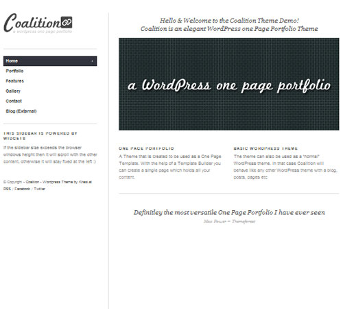 Coalition – One Page WordPress Portfolio