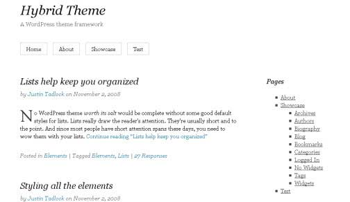 Hybrid WordPress Themes