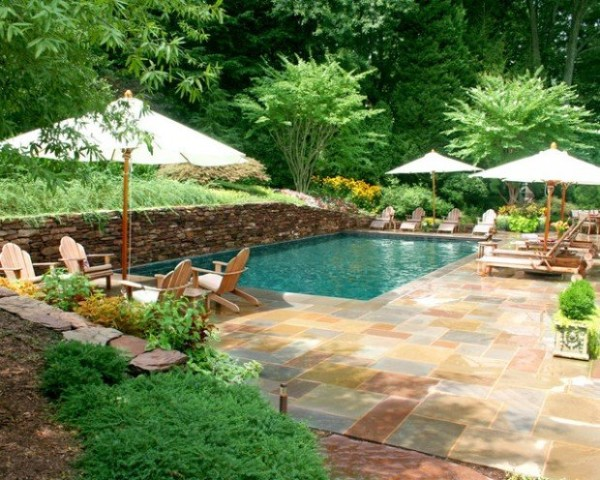 Eye catching and cool ideas of pool design for backyard for Landscape design for pool areas