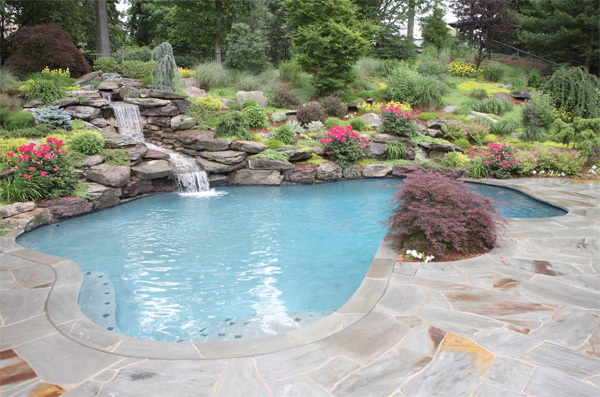 Eye catching and cool ideas of pool design for backyard for Pool landscaping ideas
