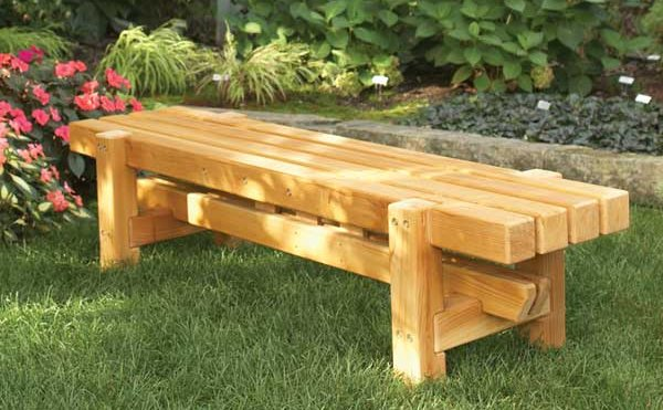 26 best outdoor bench ideas themescompany for Diy garden table designs